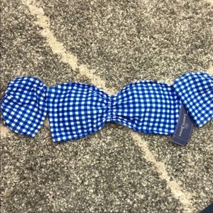 Lauren James | Blue Gingham Off Shoulder Swim Top
